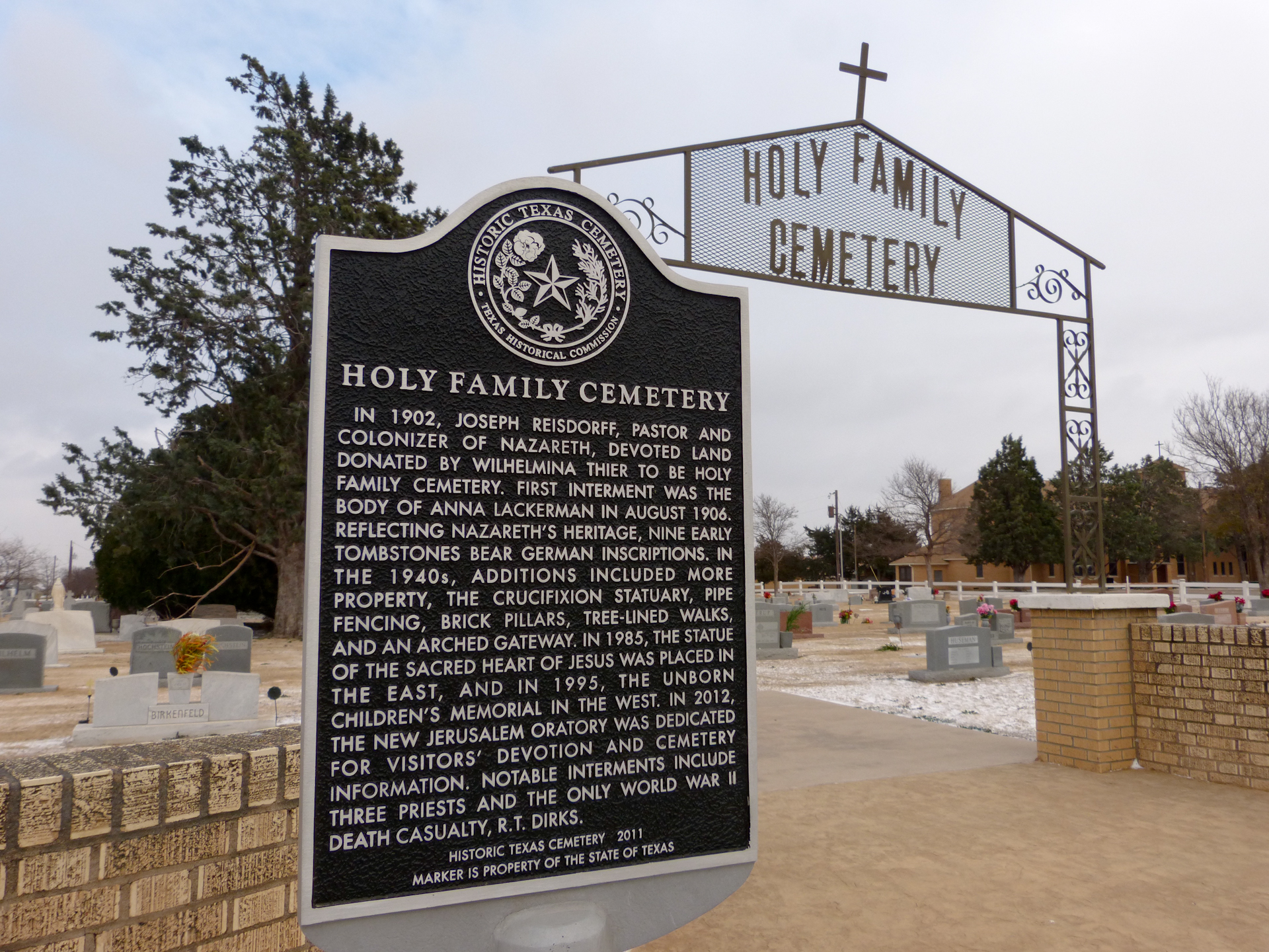 Holy Family Cemetery Historical Marker